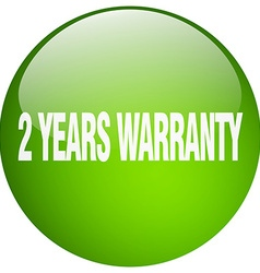 2 years warranty green round gel isolated push vector image