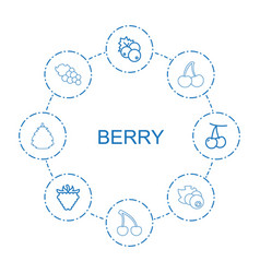 8 berry icons vector image