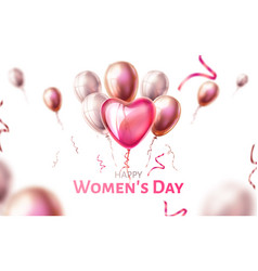 8 of march women day holiday heart balloon vector