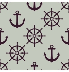 Anchor and ship wheel Nautical texture vector image