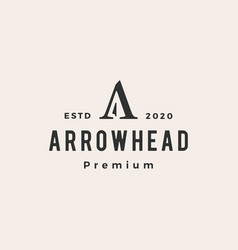 arrow head a letter hipster vintage logo icon vector image