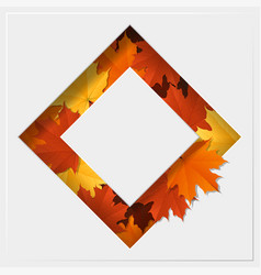 autumn leaves on geometric paper cut background vector image