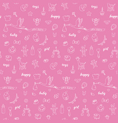 Baby girl doodle and lettering seamless pattern vector