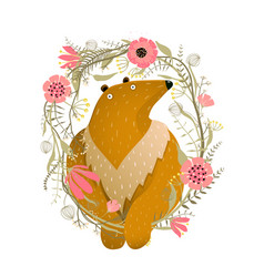 bear with flowers wreath portrait frame vector image