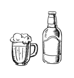 Beer bottle and filled tankard vector image