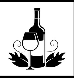 bottle and glass with wine icon vector image