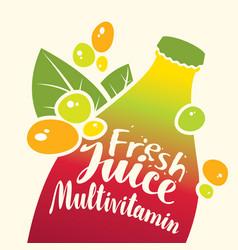 bottle with inscription fresh juice multivitamin vector image