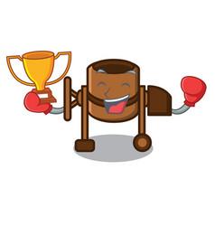 boxing winner concrete mixer mascot cartoon vector image