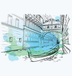 Bridge of sighs venice watercolor design vector