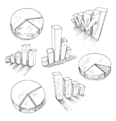 Business charts anf graphs with 3D sketch icons vector