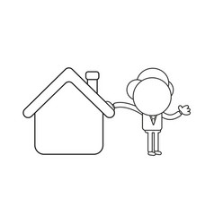 Businessman character leaning on house black vector