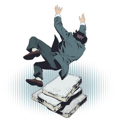 businessman falls on soft mattresses stock vector image