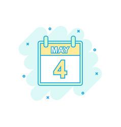 cartoon colored may 4 calendar icon in comic vector image