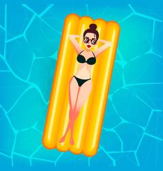 Cartoon sweet girl in sun glasses is floating on vector