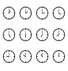 Clock that show every hour on white set vector