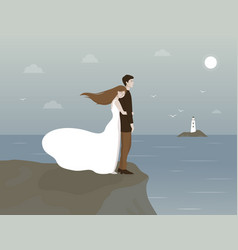 couple embracing on a rock sea vector image