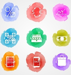 Creative colored icons for web finance market vector