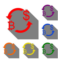 currency exchange sign bitcoin and us dollar set vector image