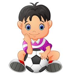 Cute boy holding a soccer ball vector