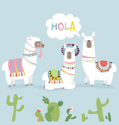 Cute friends mexican white alpaca llamas with vector