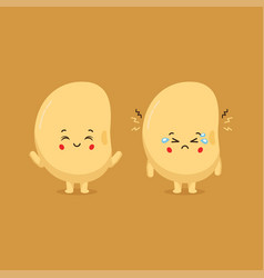Cute soy character smiling and sad vector