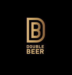 D and b gold monogram double beer vector