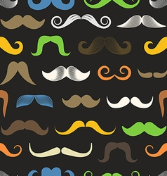 Different color retro style moustache seamless vector image