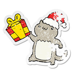 distressed sticker of a cute cartoon christmas cat vector image