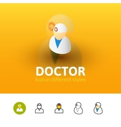 Doctor icon in different style vector image
