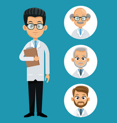 Doctor professional health- faces icon vector