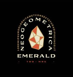 emerald diamond geometric t shirt badge vintage vector image