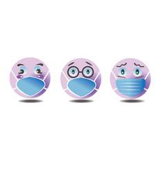 Emoji set with medical mask vector