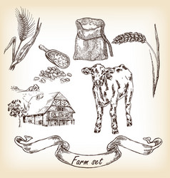 Farm set cow and farm house sketch vector