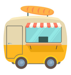 Fast food trailer with loaf icon cartoon style vector