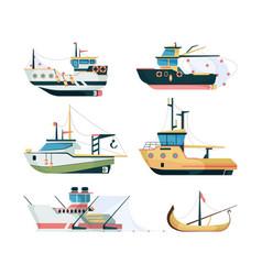fishing boats marine sailing transport for vector image