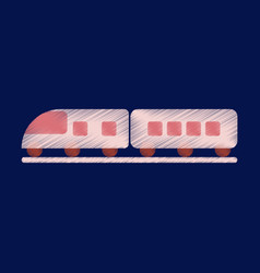 Flat icon in shading style train vector