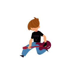 Flat man playing rock electric guitar music vector