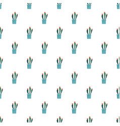 flower cactus pot pattern seamless vector image