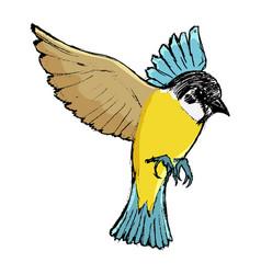 Flying tit bird vector