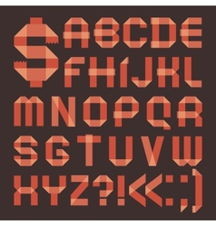 Font from reddish scotch tape - Roman alphabet vector image