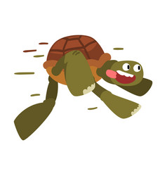 Funny turtle running fast tortoise animal cartoon vector