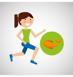 Girl jogger fresh fish healthy lifestyle vector