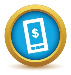 Gold dollar phone icon vector image