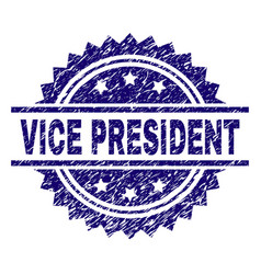 Grunge textured vice president stamp seal vector