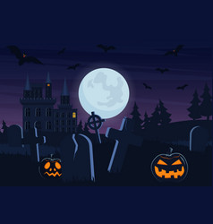Halloween spooky graveyard flat background vector
