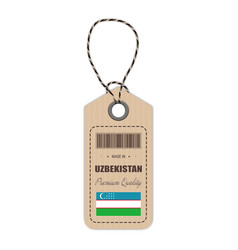 Hang tag made in uzbekistan with flag icon vector