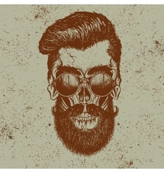 Hipster skull of human with sunglasses vector