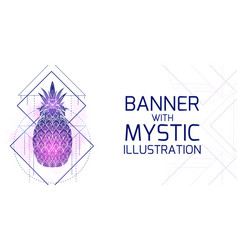 horizontal card with mystical a pineapple with vector image
