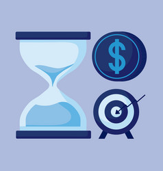 Hourglass with set icons economy finance vector