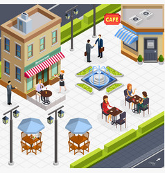 Isometric business lunch people composition vector